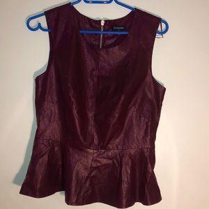 Burgundy vegan leather women's peplum shirt